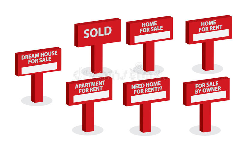 A Set of Housing market concept. An advertising Sale sign post in red. Use it for a housing market concept stock illustration