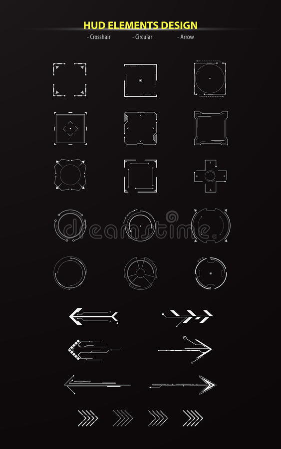 Set of hud elements collection pack tech innovation concept montage design arrow circular crosshair stock illustration