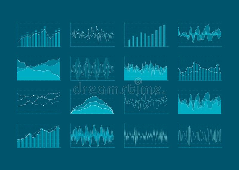 Set of HUD and infographic elements. Data analysis and analytics visualization. Futuristic user interface. Vector illustration iso royalty free illustration
