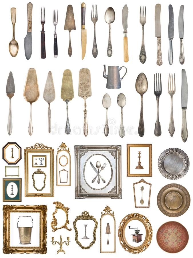 Set of a huge amount gorgeous old vintage items royalty free stock photo