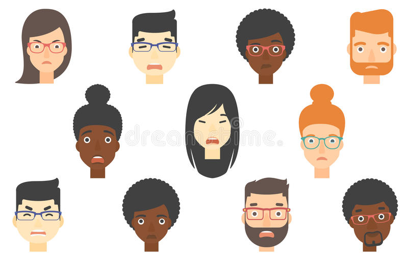 Set Of Human Faces Expressing Different Emotions. Stock