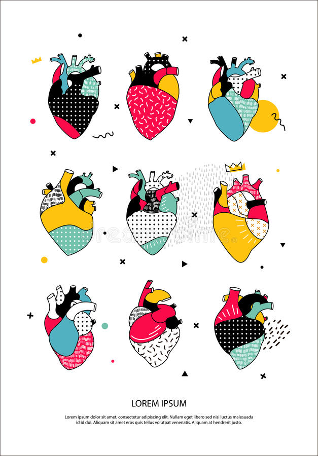 set of human hearts in the Memphis style. stock illustration