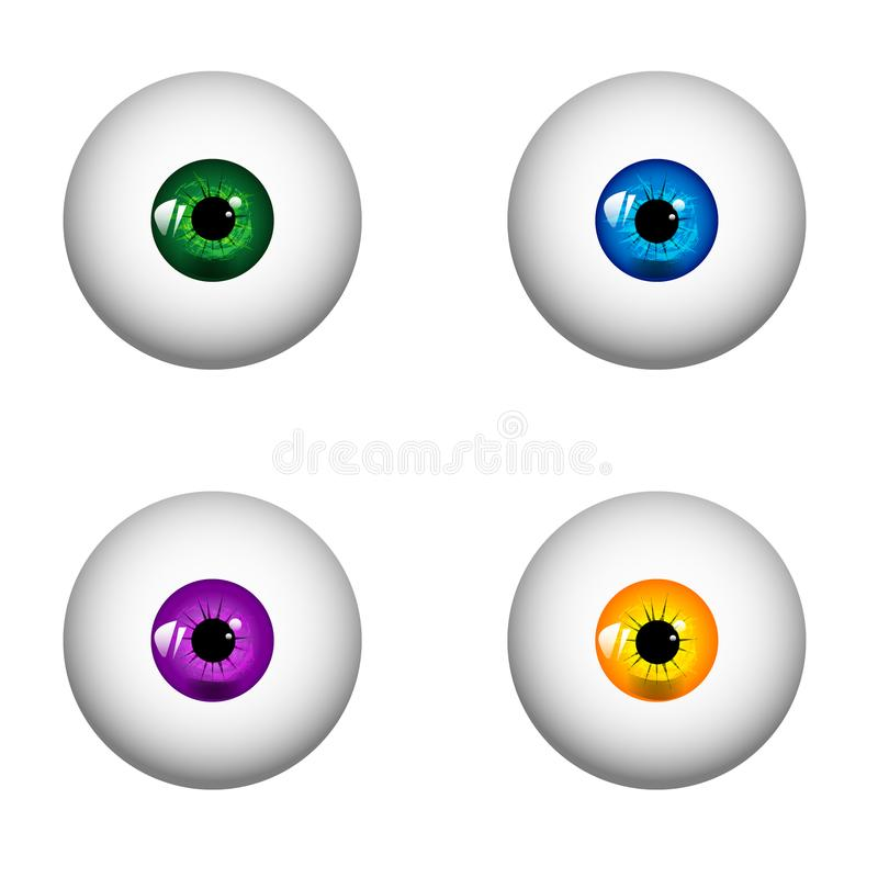 Set of human realistic eyes with different colors of irises. vector illustration - eps 10. Set of colorful eyes isolated on white background. EPS10 vector vector illustration