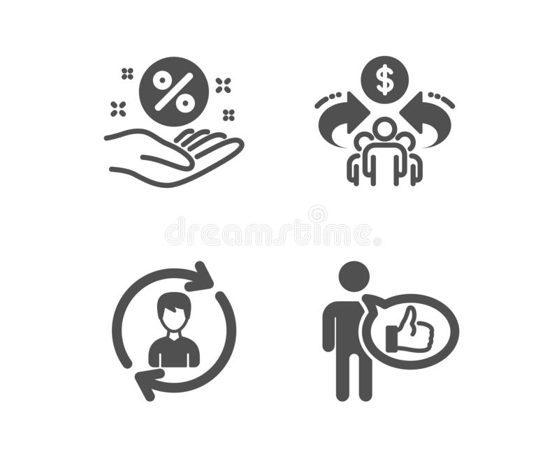 Human resources, Sharing economy and Loan percent icons. Like sign. Update profile, Share, Discount hand. Vector stock photography