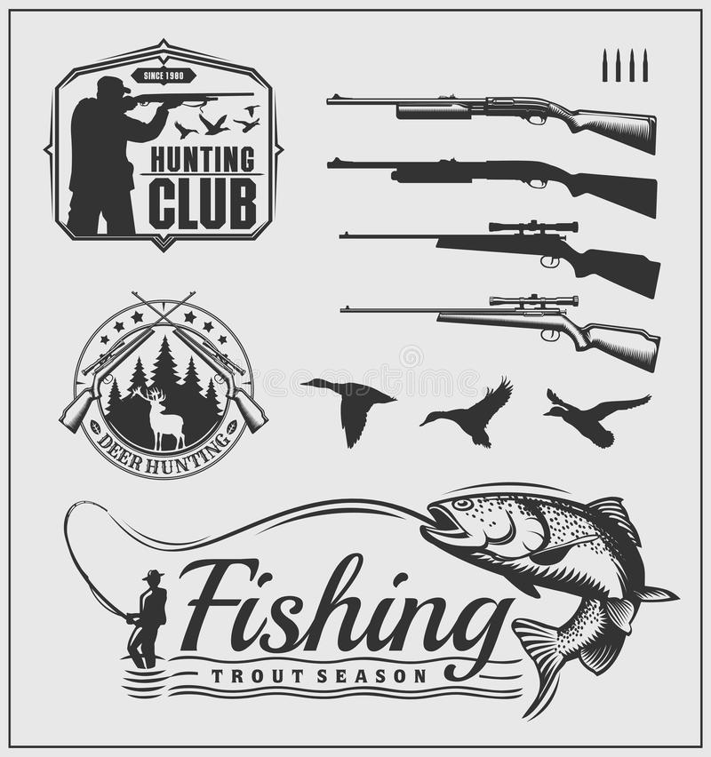 Set of hunting and fishing club badges, labels and design elements. Vector monochrome illustration vector illustration