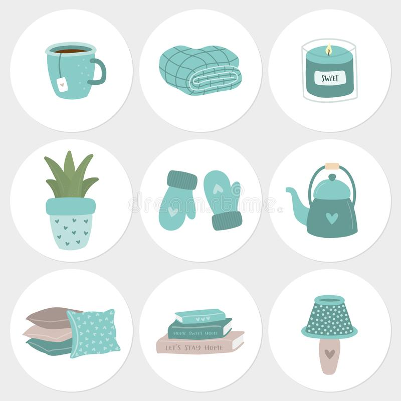 Set of 9 hygge stickers with home decoration items royalty free illustration