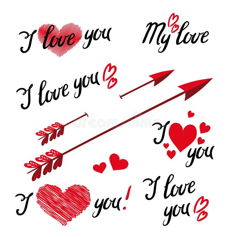 Set Of I Love You Hand Lettering and elements with Decorative Ornaments stock illustration
