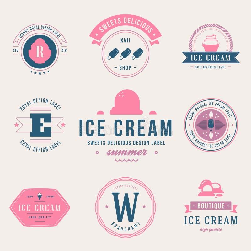 Set of ice cream shop labels, logotypes and design elements. Vin vector illustration