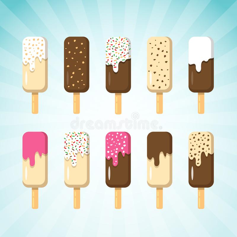 Set of Ice Cream on Stick in Many Flavor. Ice Creams are Chocolate, Vanilla and Strawberry with various Topping royalty free illustration