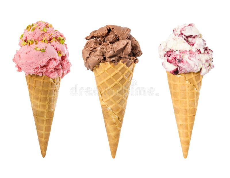 Set of ice cream in waffle cone isolated on white royalty free stock photo