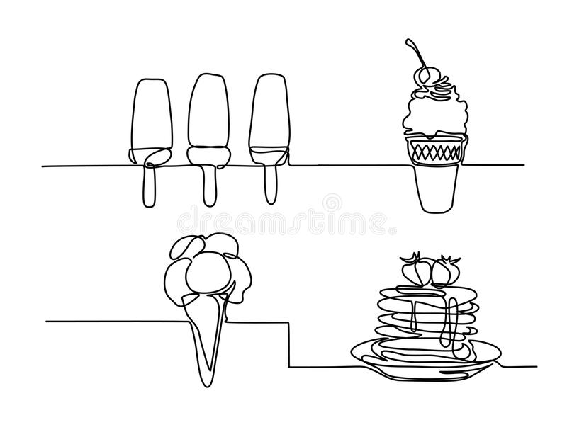 Set ice cream in a waffle cup with cherry. Set continuous line drawing. Ice cream in a waffle cup with cherry. Vector illustration black line on white royalty free illustration