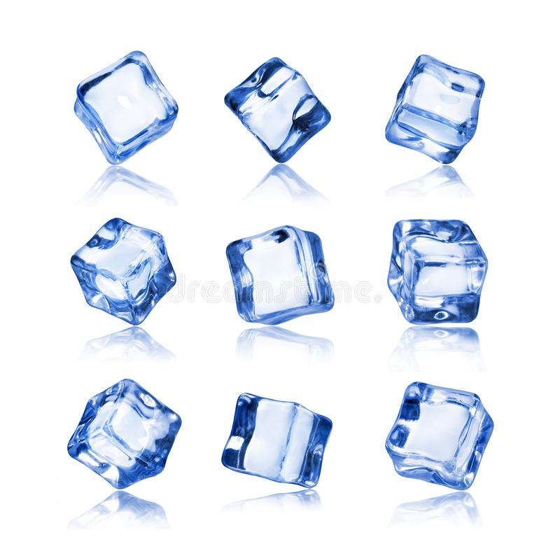 Set of ice cubes isolated on white background royalty free stock photos