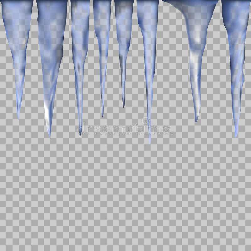 Set of ice icicle on a transparent background stock illustration