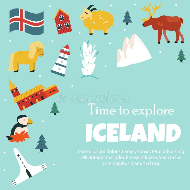 Set of Iceland symbols and tourist attractions vector illustration