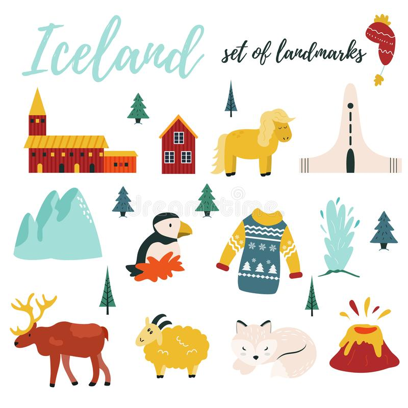 Set of Iceland symbols and tourist attractions stock illustration