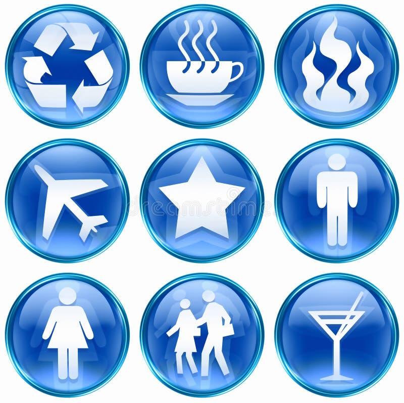 Set icon blue #01. royalty free stock photography