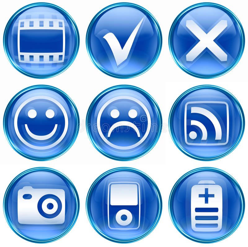 Set Icon Blue #13. Royalty Free Stock Images