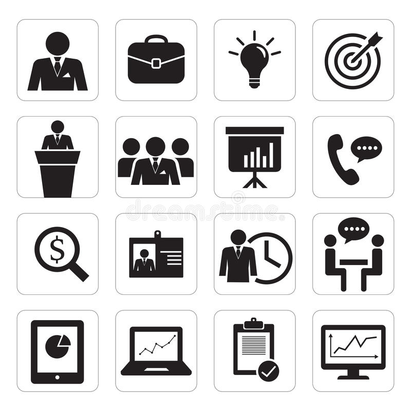 Set of icon business office stock illustration