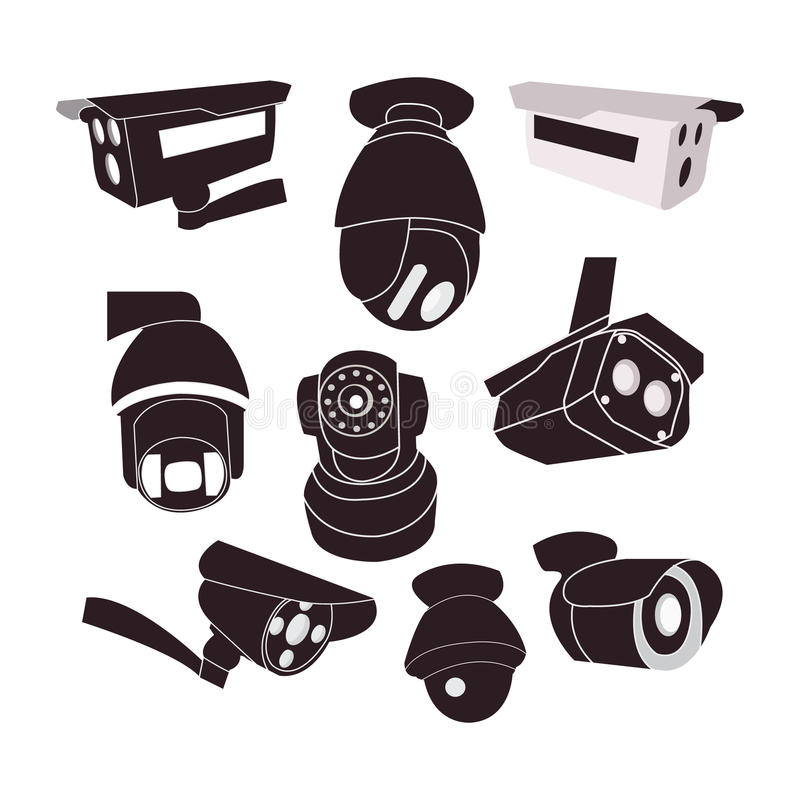 Set icon of CCTV cameras . Private protection safety, surveillance and watching illustration vector illustration