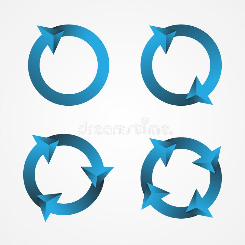 Set icon 2D circular arrow sign symbol on the white background vector illustration