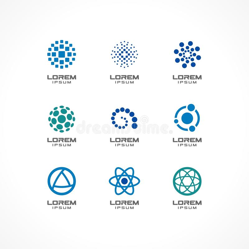 Download Set Of Icon Design Elements. Abstract Logo Ideas For Business  Company, Communication,