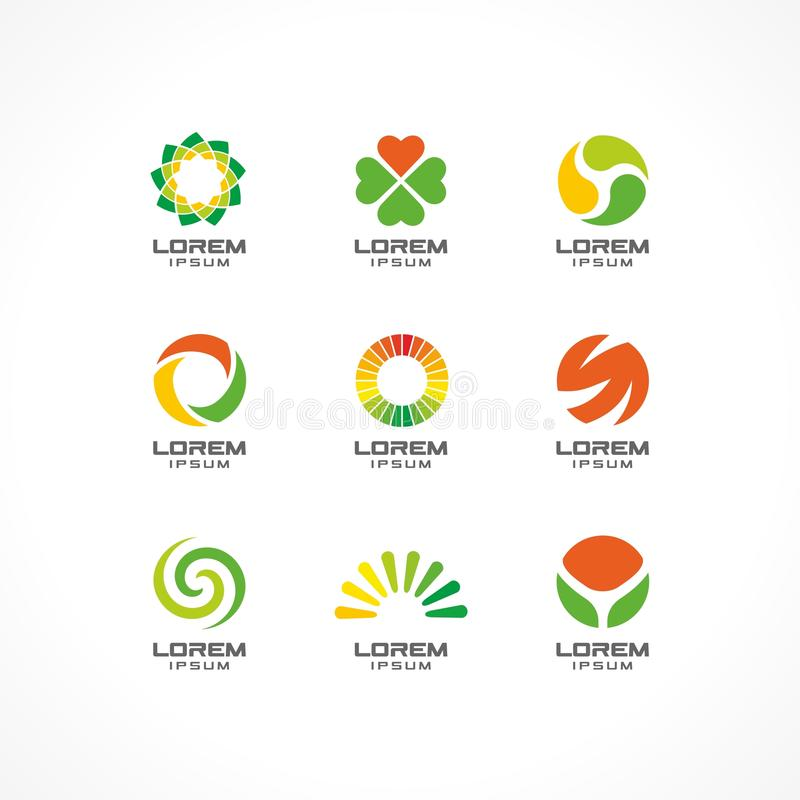 Set of icon design elements. Abstract logo ideas for business company. Eco, healthcare, SPA, Cosmetics and medical stock illustration