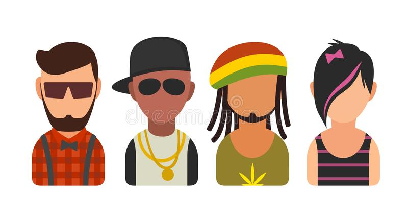 Set icon different subcultures people. Hipster, raper, emo, rastafarian. stock illustration
