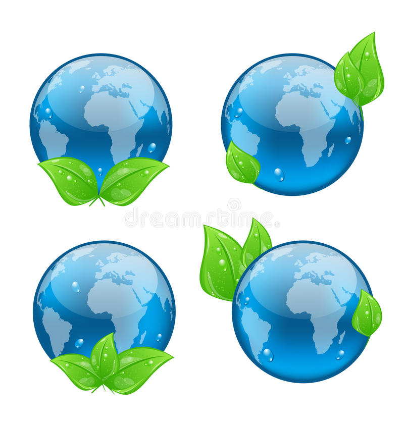 Download Set Icon Earth With Green Leaves Isolated On White Royalty Free Stock Photography - Image: 30751267