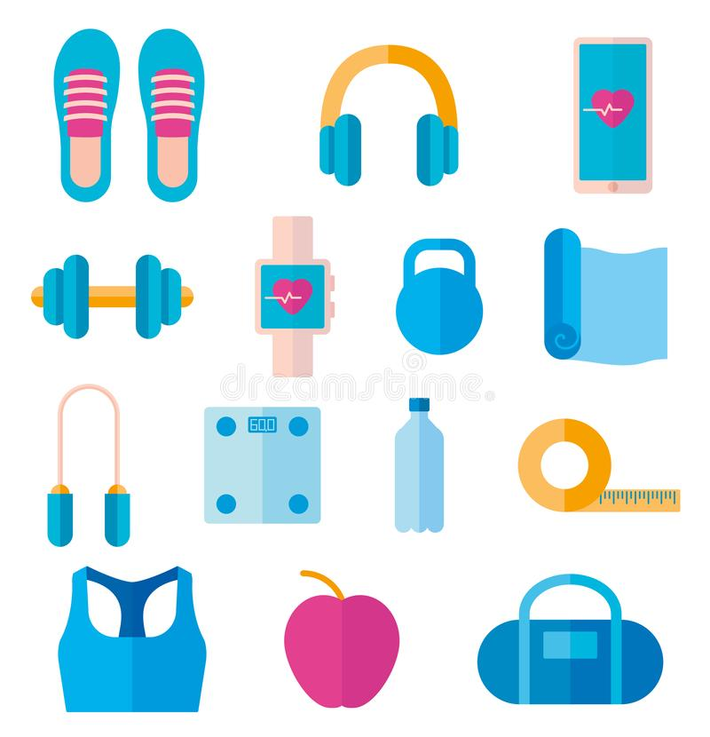 Set of icon of fitness equipment: headphones, yoga mat, dumbbell, smart watch. Vector in flat style vector illustration