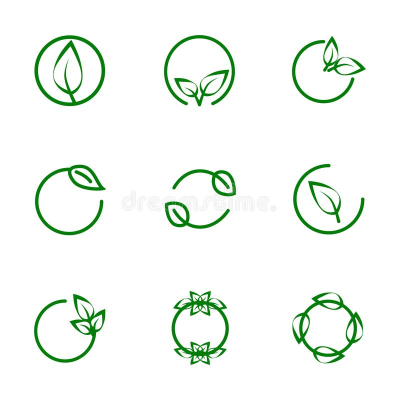 Set icon green with leaves, thin line. Set icon green with leaves, thin line, and leaf circle frames labels concept royalty free illustration