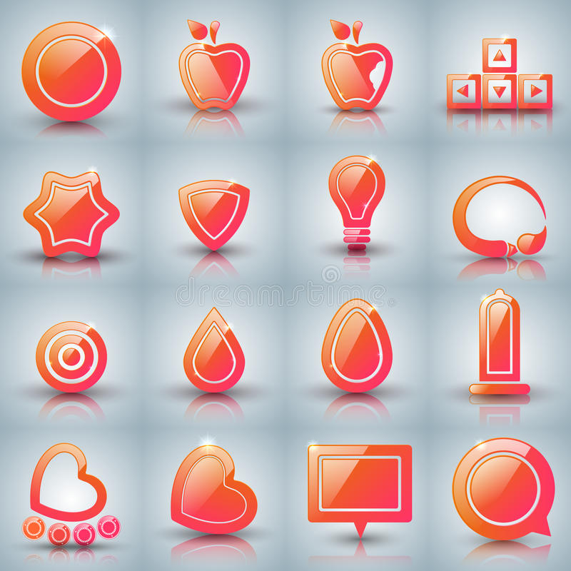 Set icon on the grey background. Set icon - apple, arrows, drop, water, heart rollerskates egg brush bulb star condom target vector illustration