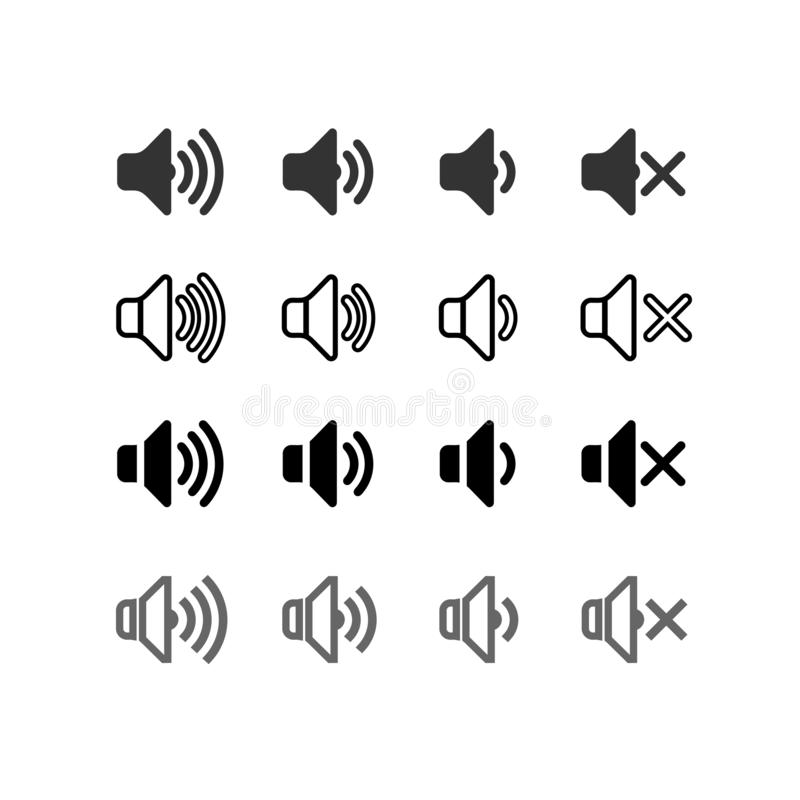 Set of an icon that increases and reduces the sound. Icon showing the mute. Sound icons with different signal levels in a flat vector illustration
