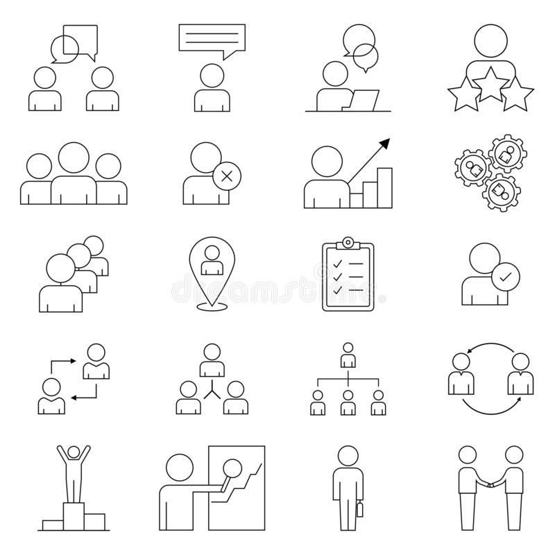 Set icon in line style. A simple set of business people. Contains icons such as meeting, business communication, teamwork, royalty free stock images