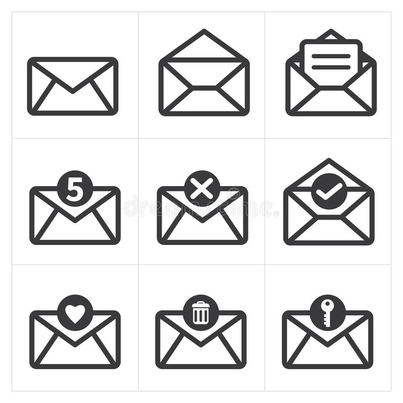 Set of icon mail. Messages icon stock illustration
