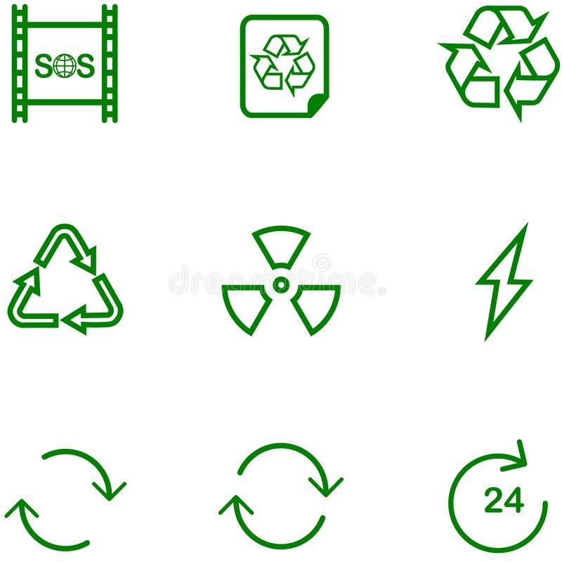 Set icon recycle, settings for different design. royalty free illustration