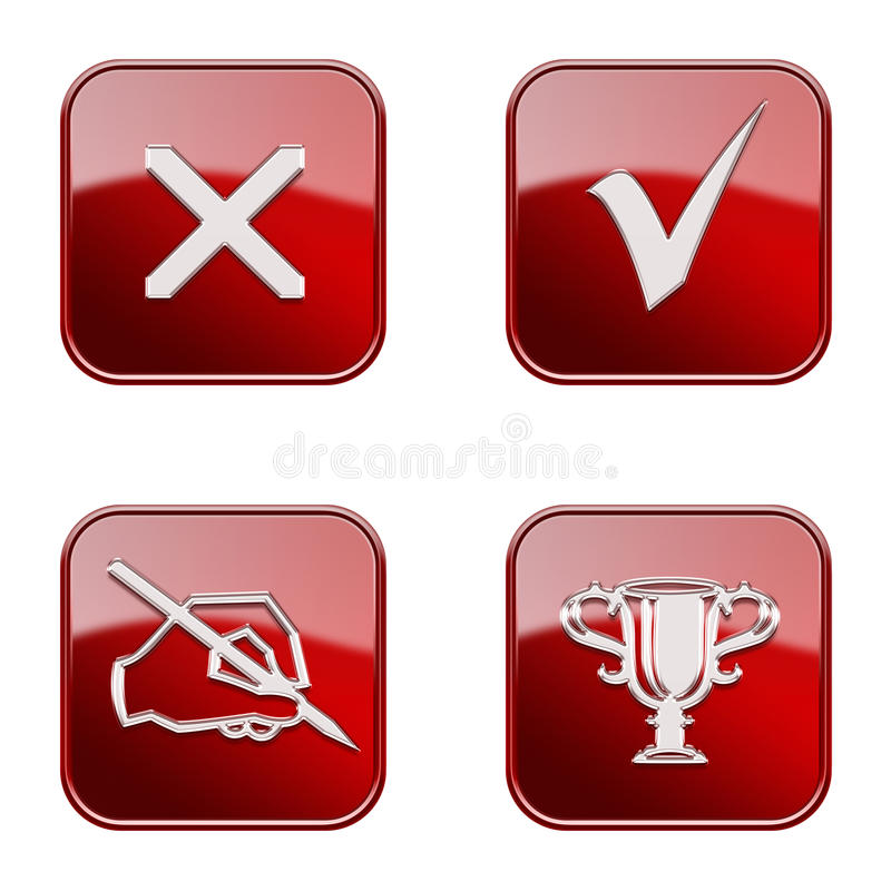 Set icon red glossy #23. stock image