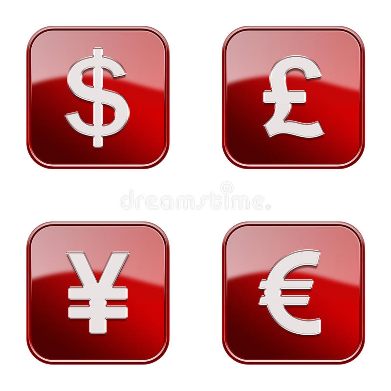 Set icon red glossy #05. royalty free stock photos