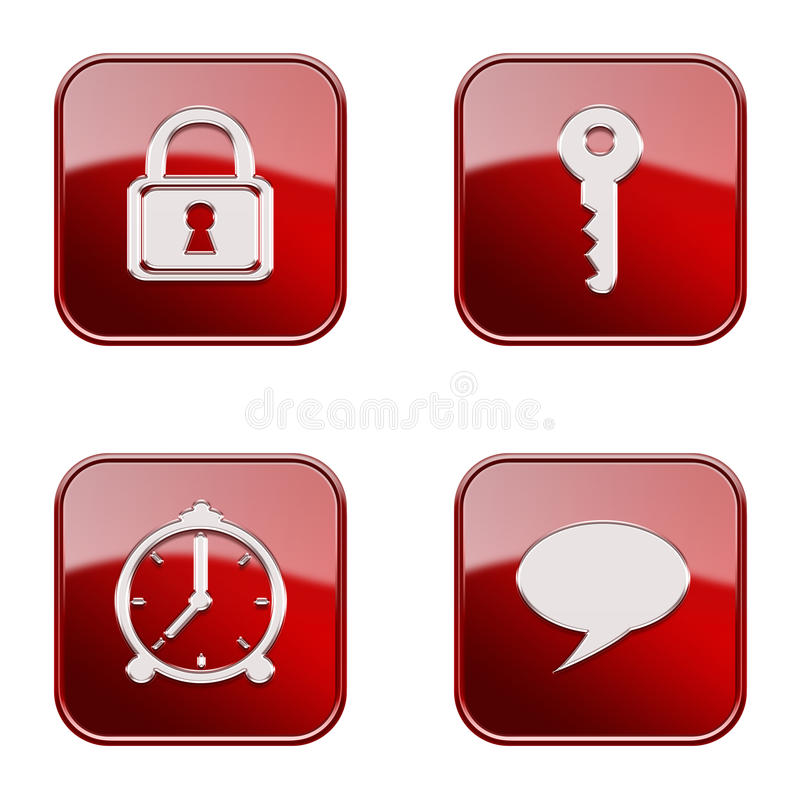 Set icon red glossy #12. royalty free stock photography