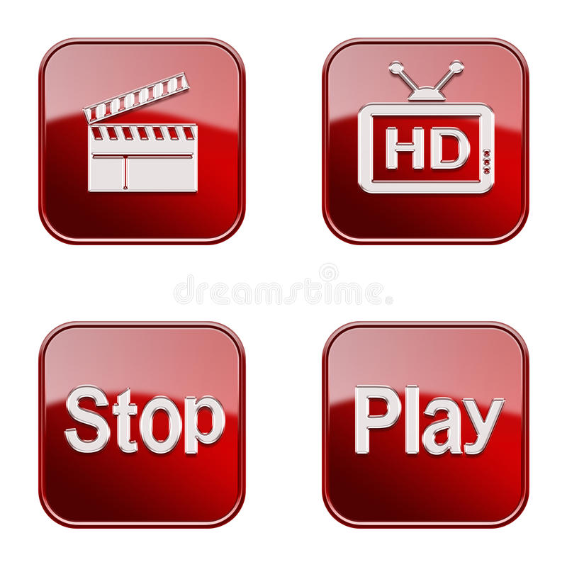 Set icon red glossy #13. royalty free stock images