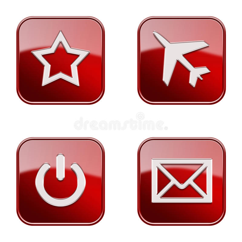 Set icon red glossy #04. stock photos