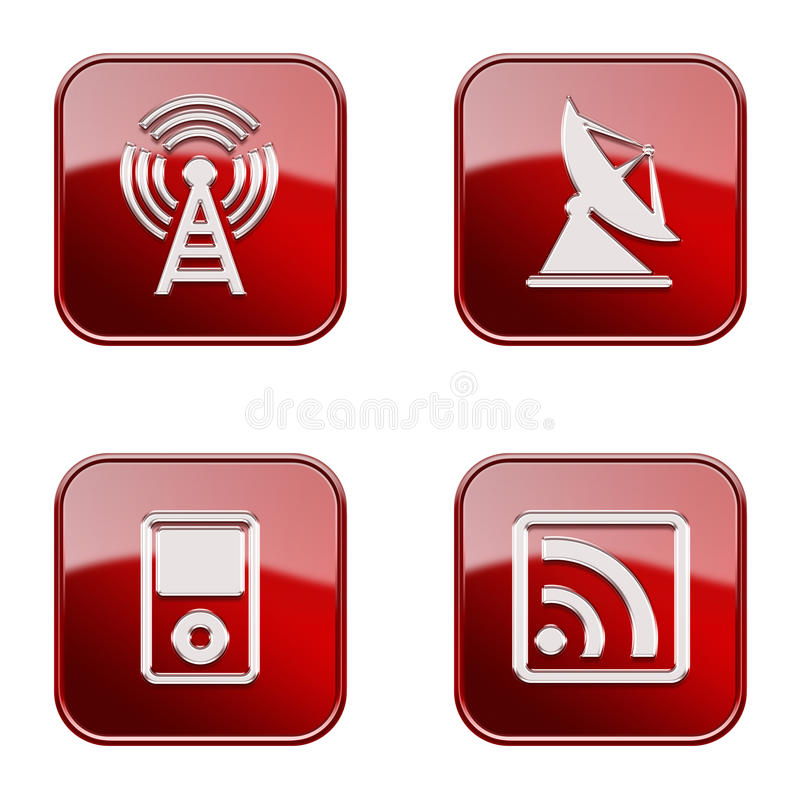 Set icon red glossy #28. royalty free stock photo