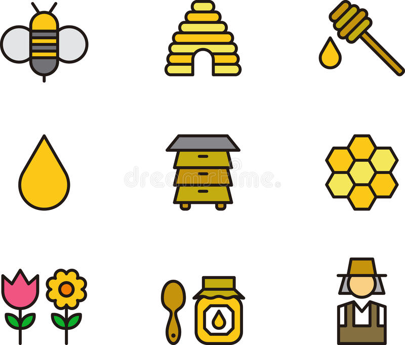Set of icon relating to honey and bees. Isolated on a white background stock illustration