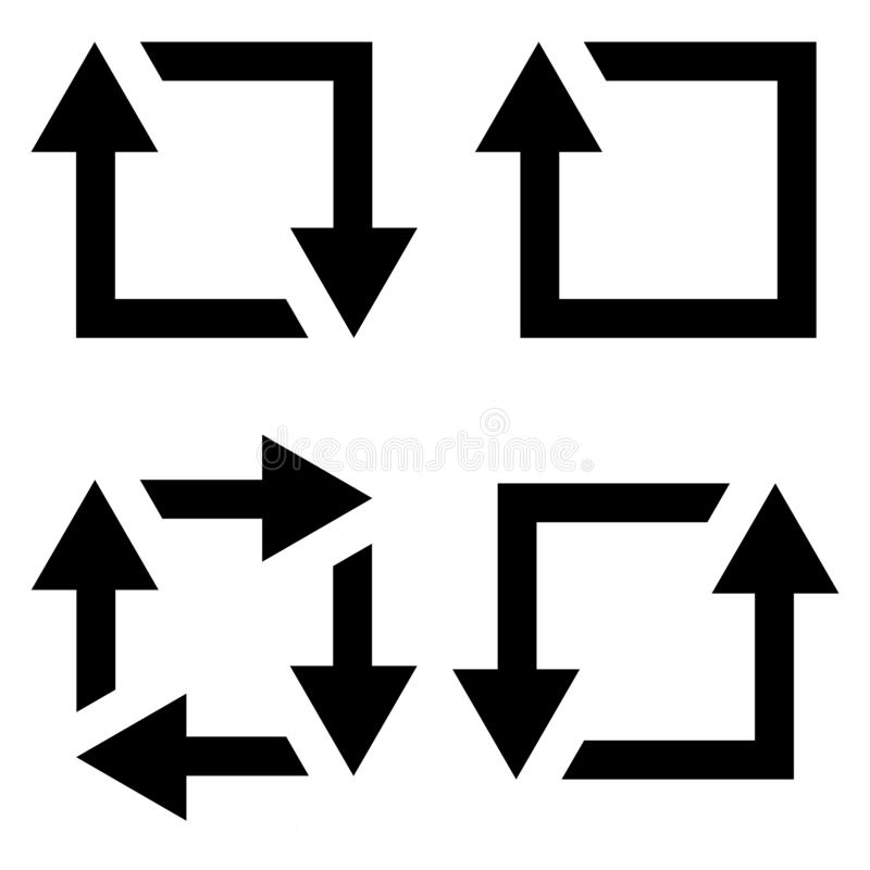 Set icon repost recycling vector contours of a square with an arrow sign symbol repost resend, recycling royalty free illustration