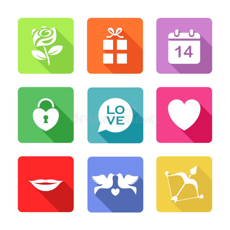 Set of Icon for St. Valentine's Day royalty free stock photo