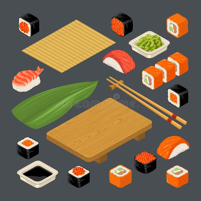Set icon Sushi nigiri and rolls. Served with bamboo mat, chopsticks, wasabi, soy sauce and wood plate. Set Sushi. Bamboo mat, chopsticks, wasabi, soy sauce stock illustration