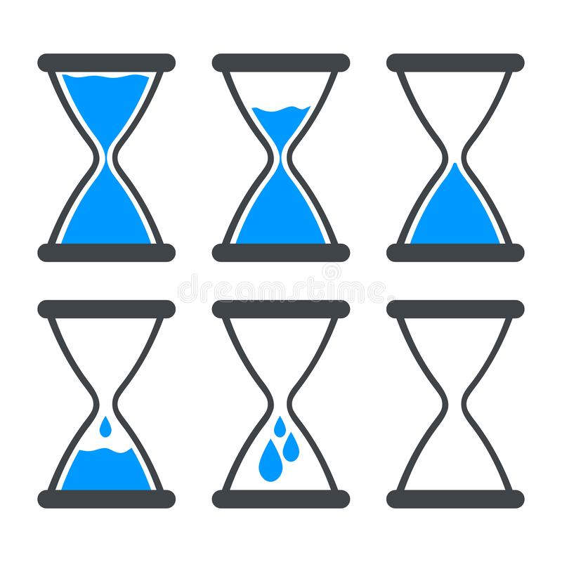 Set of icon water in hourglass. vector illustration