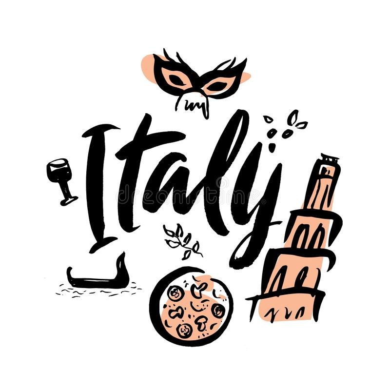 Set with iconic symbols in calligraphic style of Italy royalty free illustration