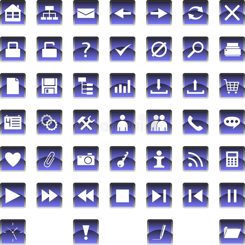 Set of icons 1. Set of icons and buttons for websites royalty free illustration