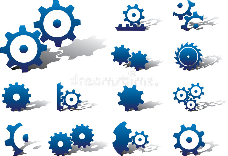 Set icons - 18A. Gears royalty free illustration