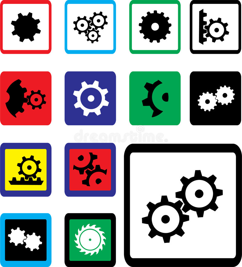 Set icons - 18B. Gears vector illustration